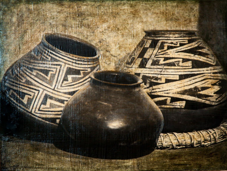 Three Anasazi Pots, 16x20 inch encaustic, $950