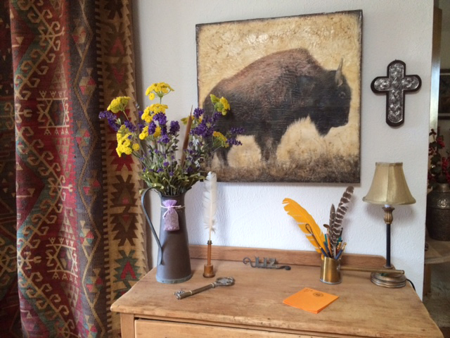 Old Style Bison 20x20 inch encaustic