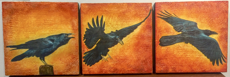 Raven Take Off, 12x36 encaustic Tryptech, $1200