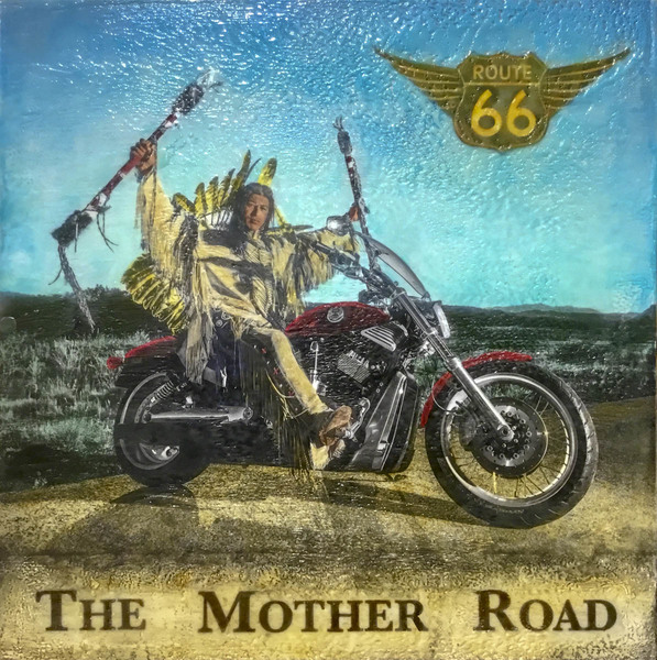 The Mother Road, 18x18 inch Encaustic, $1100