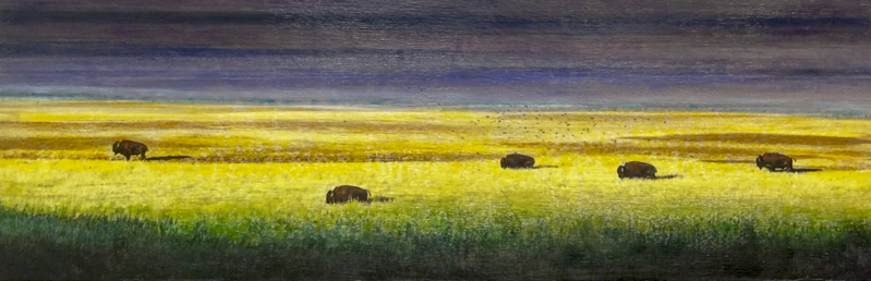 Buffalo Family of Five Bison, 12x36 inch Encaustic